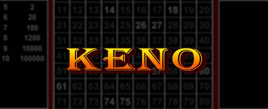 Keno is a classic casino favorite that is easy to learn and very fun to play. In this popular lottery-style game, players receive a Keno card with numbers from one to eighty. From the top right of the Keno card, players select a bet amount and predict which numbers will be drawn by selecting one to as many as 15 of the numbers on the Keno card.