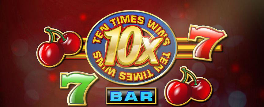 Get a taste of vintage Las Vegas in 10X Wins, a traditional 3-reel, 3-line slot that doesn't hold back when it comes to fast-paced action. This sequel to 5X Wins gives players more of what made the original so exciting, including a wild multiplier that is now worth double. The 10X Wins logo switches in for all symbols to complete combinations and multiply your winnings by 10X, and that's just the beginning. Land three wilds in a row and hit the $50,000 jackpot in this slot that is sure to become a timeless classic.